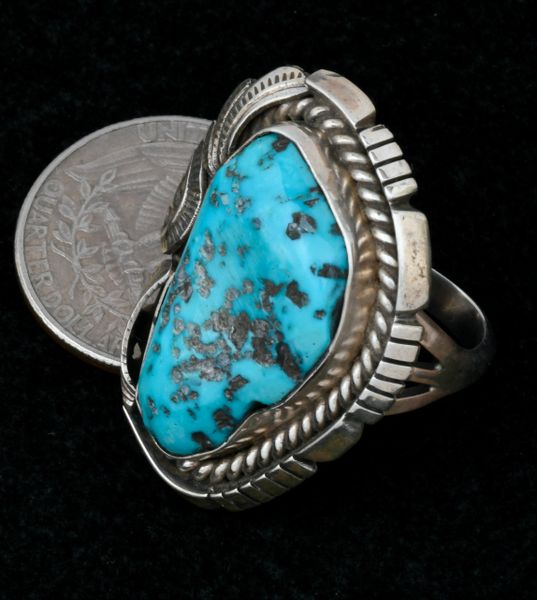 Older size 8.5 Navajo pawn ring with Sleeping Beauty turquoise.