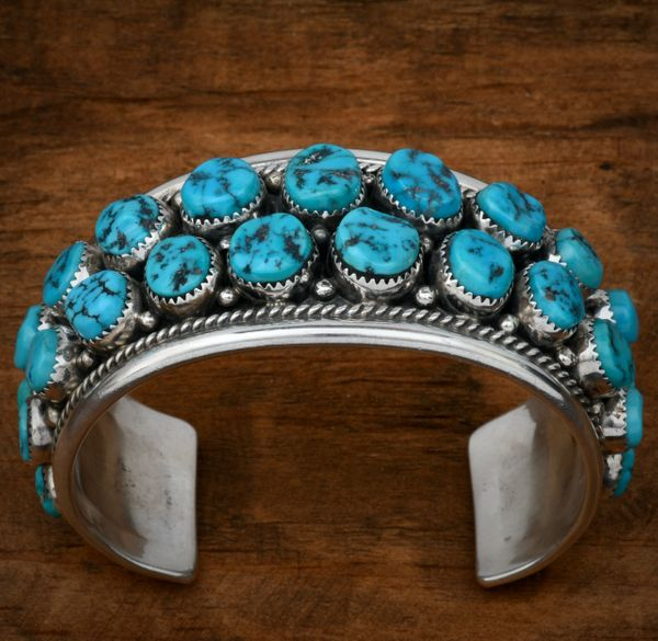 27-stone Navajo pawn double row cluster cuff with Sleeping Beauty turquoise. #1622