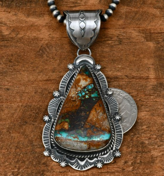 "Old-style Navajo pendant with ribbon turquoise and 4mm, 24-inch burnished Sterling ""Navajo pearls."" #1634"