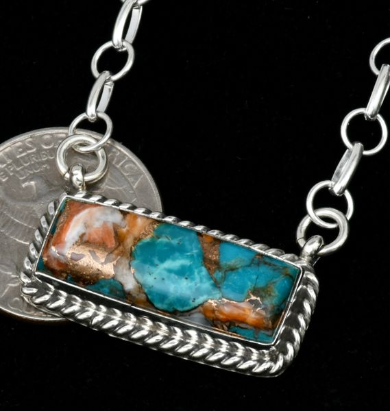 Donavan Skeet' Navajo bar necklace with heavy chain and turquoise, spiney-oyster and bronze mix 'stone.' #1636