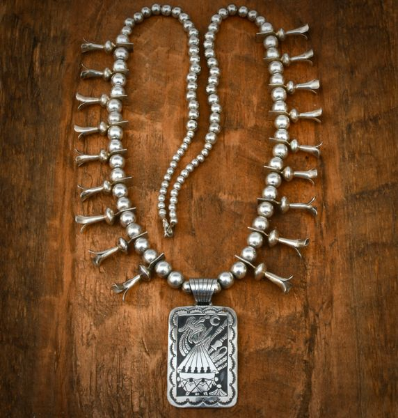 All-Sterling Navajo squash-blossom necklace with double-overlay storyteller end-piece. #1637