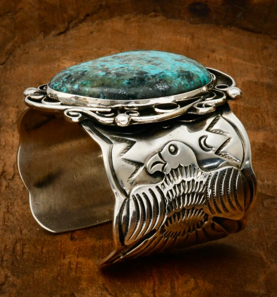 Chimney Butte two-inch-wide hand-stamped eagle turquoise cuff. #1640