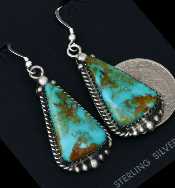 Colorful Kingman turquoise Navajo earrings by Elouise Kee. #1643