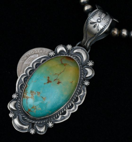 Custom made Robert Shakey Royston turquoise hand-stamped and repousse' pendant (shown with optional 5mm, 22-inch burnished Sterling Navajo 'pearls'). #1646