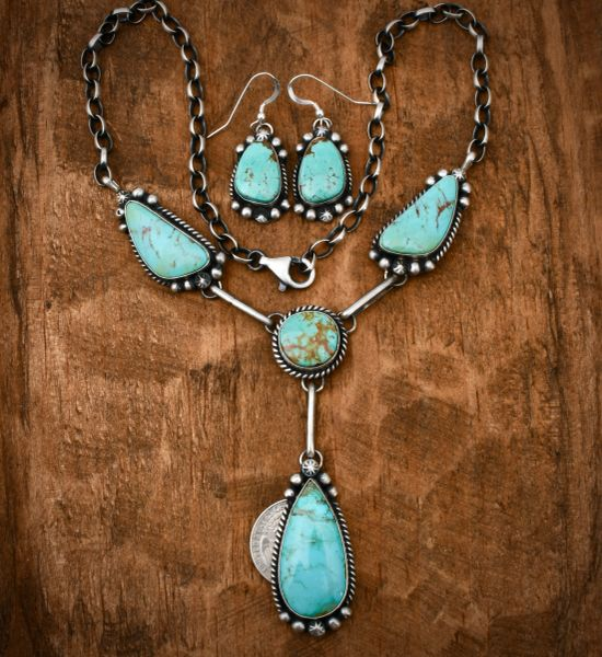 Kingman turquoise Navajo pendant necklace set, by Augustine Largo. #1647