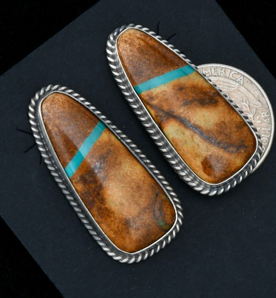 Larger Navajo earrings with ribbon turquoise, by Eloise Kee. #1649