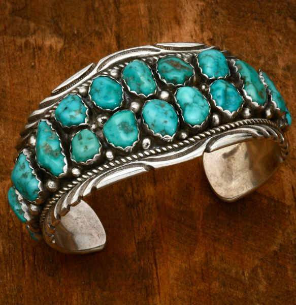18-stone vintage Navajo turquoise cuff. #1650