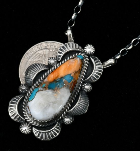 Robert Shakey Navajo bar-type pendant with turquoise, white buffalo and bronze mix 'stone.'