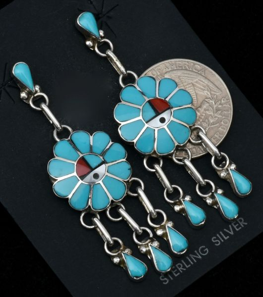Burdian Soseeah Zuni Pueblo 5-piece inlay chandelier earrings. #1653