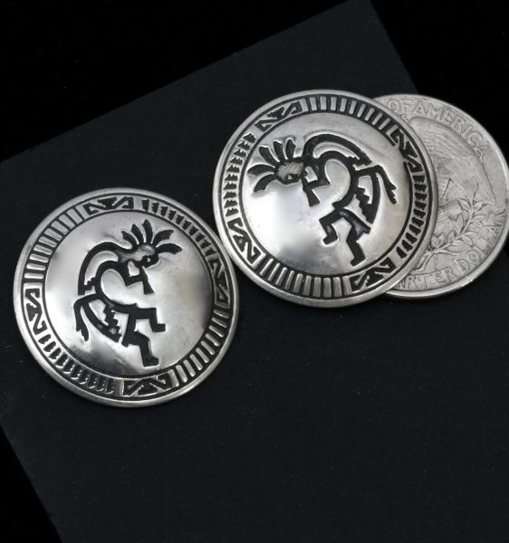 Domed Sterling Navajo studs with hand-stamped Kokopelli figures. #1654