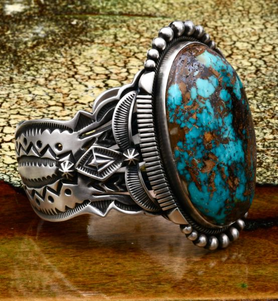 Aaron Toadlena masterpiece cuff with Nevada Easter Blue turquoise. SOLD! #1655