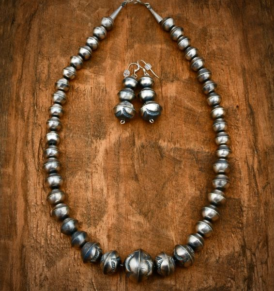 Burnished Navajo 'pearl' necklace and earring set. #1658