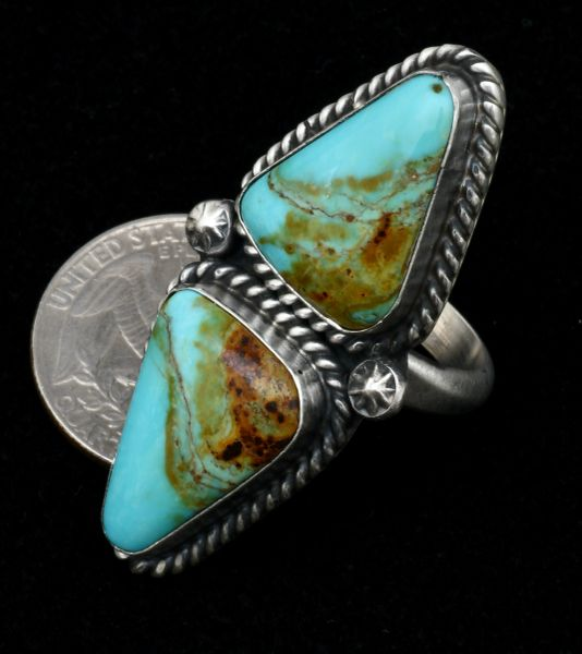 Two-piece matching Kingman turquoise Navajo ring by Augustine Largo—size 8 but slightly adjustable. #1663