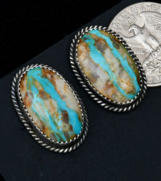 Navajo studs with double ribbon turquoise by Virginia Bicenti. #1666