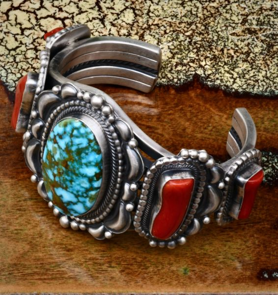 Heavy silver five-stone Navajo cuff with red coral and water-web Kingman turquoise. SOLD! #1667