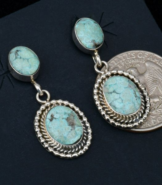 Navajo two-piece turquoise earrings by Verley Betone. #1671