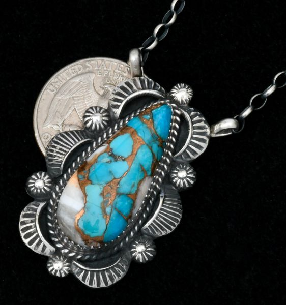 Robert Shakey' elaborate Navajo bar necklace with turquoise, white buffalo and bronze mix 'stone.'