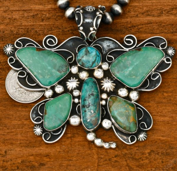 Large Chimney Butte butterfly pendant (shown with optional 8mm, 20 Sterling Navajo 'pearls'). #1776