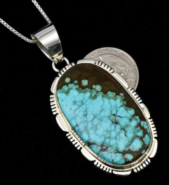 Thomas Francisco' Navajo pendant (and chain) with water-web Kingman turquoise. SOLD! #1677