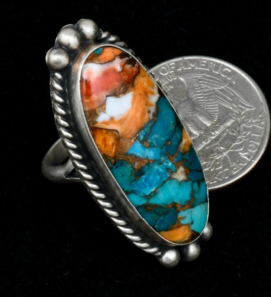 Size 6 turquoise, spiney-oyster and bronze-mix Navajo size 6 ring, by Augustine Largo.