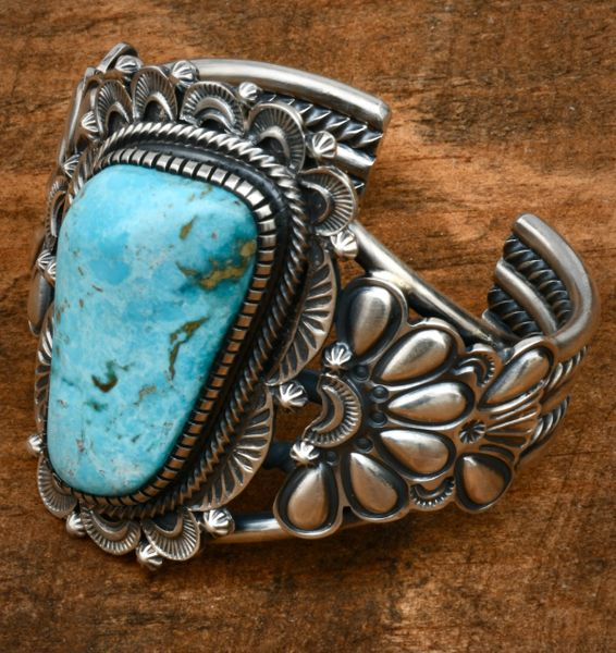 Hank Vandeveer' heavy-silver traditional hand-stamped Navajo cuff with Kingman turquoise and reverse-stamped repousse' #1679
