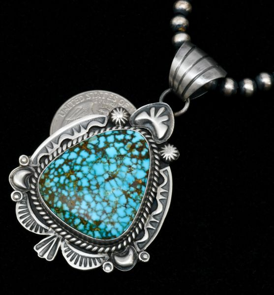 Robert Shakey' water-web Kingman turquoise hand-stamped Navajo pendant (shown w/optional 5mm, 22-inch burnished Sterling Navajo 'pearls'). #1681