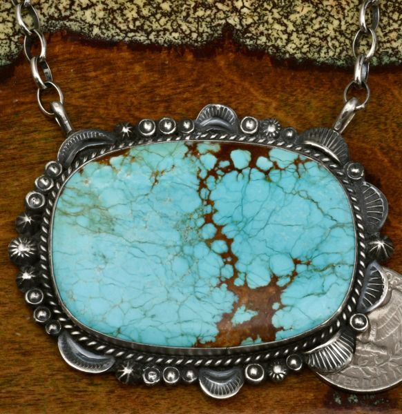 Gilbert Tom large Navajo bar-type necklace with No. 8 Mine turquoise. #1682