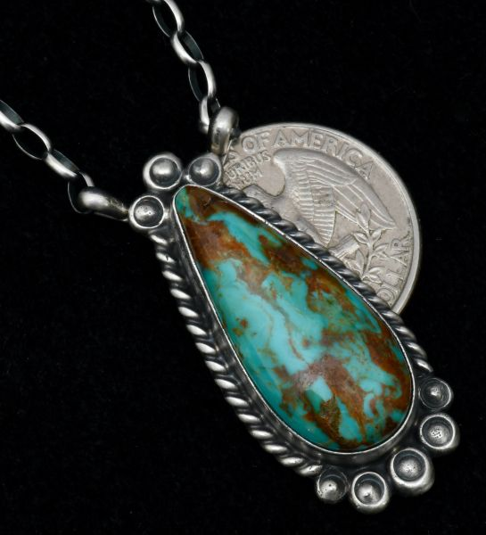 Robert Shakey' Navajo teardrop bar necklace with colorful Kingman turquoise. #1683