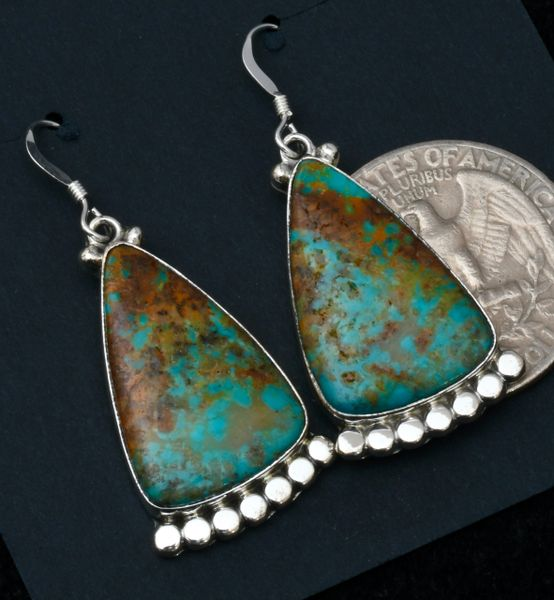 Colorful Navajo hanger earrings with Kingman, Arizona turquoise. #1684