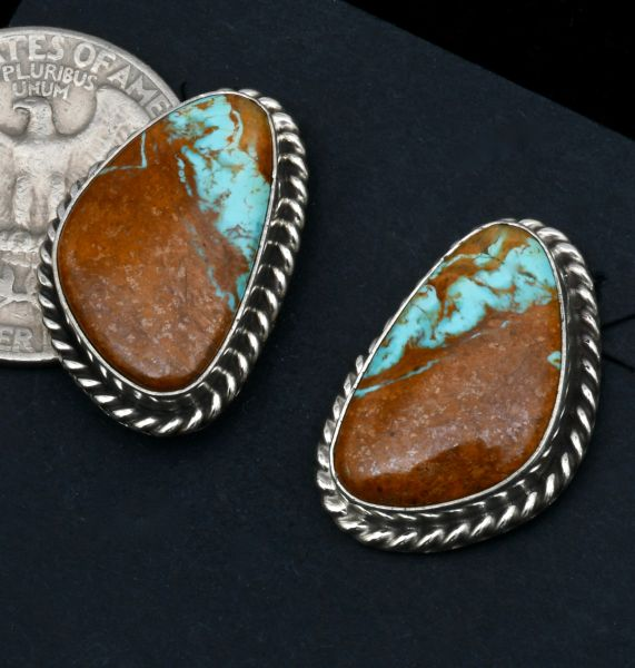 Ribbon turquoise Navajo studs by Augustine Largo. #1686