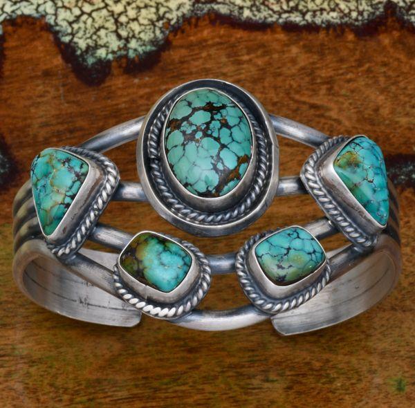 Five-stone Navajo cluster cuff by Ray Delgarito. #1688