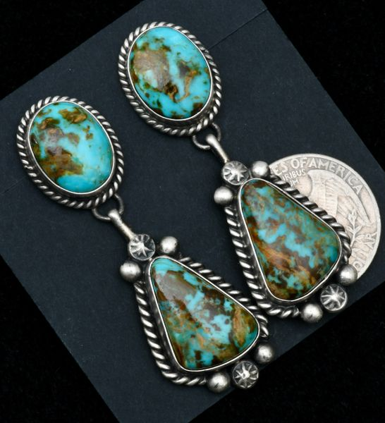 Augustine Largo' two-piece Navajo earrings with colorful Kingman turquoise.