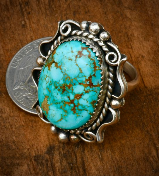 Size 7.5 ornate Navajo turquoise ring. #1697