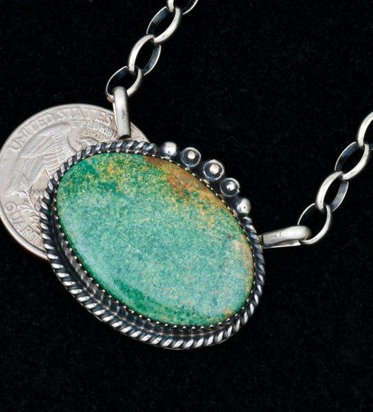 Alfred Martinez' oval turquoise Navajo bar necklace with heavier-gauge Sterling chain. SOLD! #1698