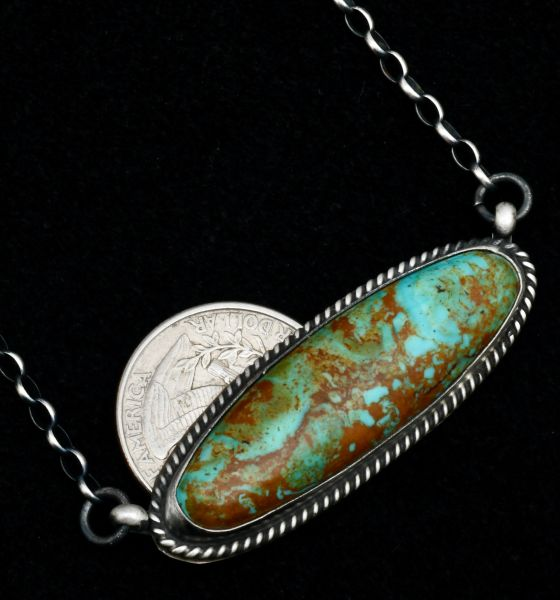 Vernon Johnson' Kingman turquoise oblong Navajo bar necklace. #1704
