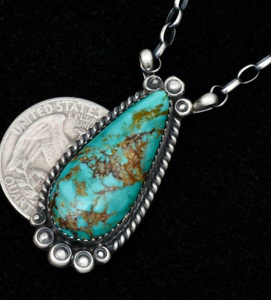 Robert Shakey' Kingman, Arizona turquoise Navajo teardrop bar necklace. #1705