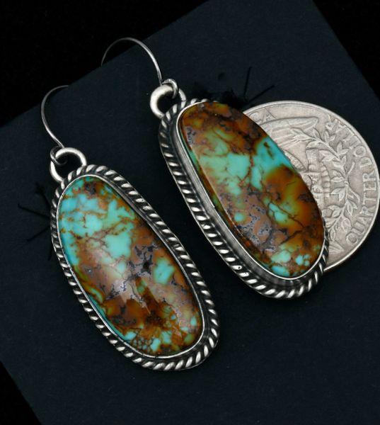 Navajo heavy-matrix turquoise earrings by Donovan Skeets.