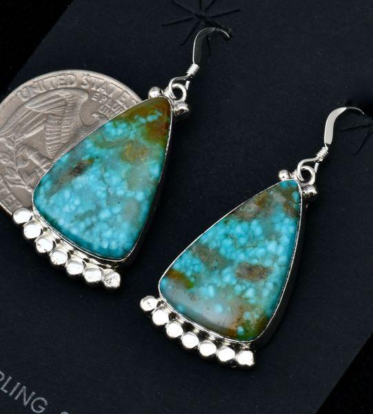Water-web Kingman turquoise Navajo earrings by Verley Betone. #1714