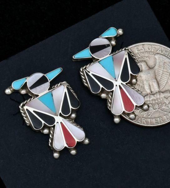 Zuni inlay Thunderbird stud earrings. #1717