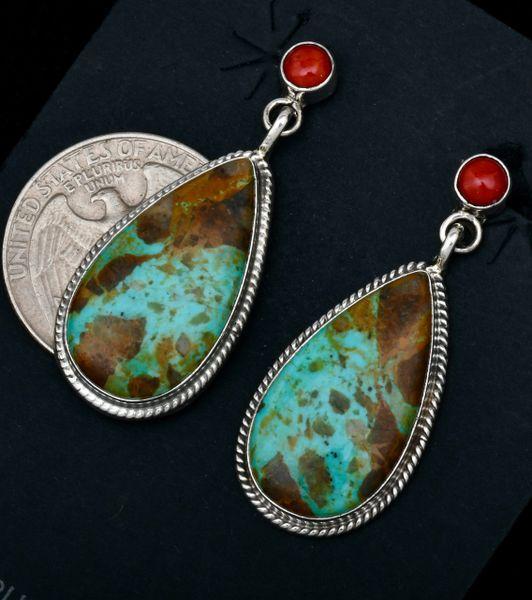 Navajo two-piece teardrop earrings by Judy Largo. #1719