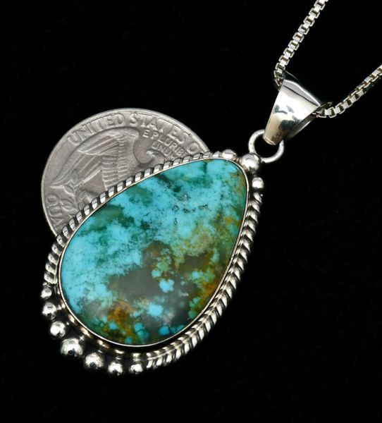 Elouise Kee' small Navajo turquoise teardrop pendant with chain. #1720