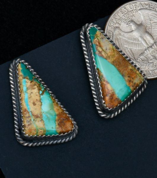 Virginia Becenti Navajo studs with ribbon turquoise. #1723