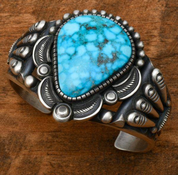 Heavy silver Calvin Martinez' water-web Kingman turquoise cuff. #1721
