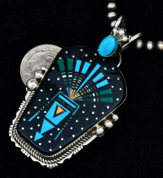 """Ray Jack medium-large nighttime """"spirit in the sky"""" inlay pendant (shown with optional 5mm, 22-inch burnished Sterling Navajo """"pearl"""" bead chain). #1726"""