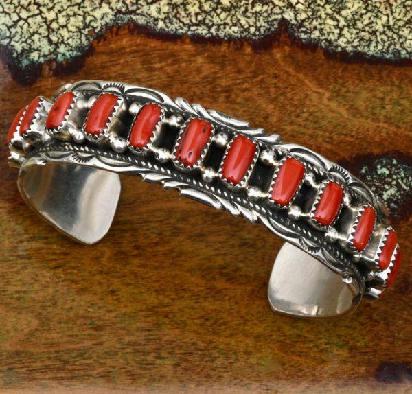 Victoria Yazzie Navajo row cuff with 14 pieces of Mediterranean red coral. #1727