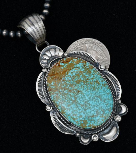 Gilbert Tom No. 8 Mine turquoise Navajo pendant (shown with OPTIONAL 22-inch, 5mm burnished Sterling bead chain). #1728