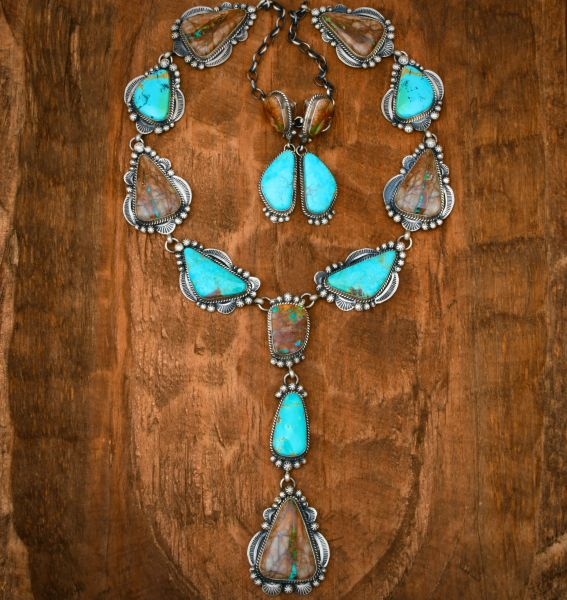 Gilbert Tom 15-stone Navajo lariat and matching earrings with both Kingman and Ribbon turquoise. #1729
