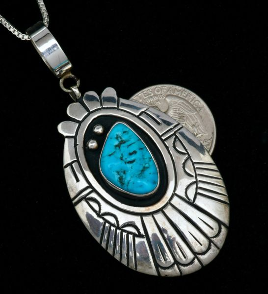 T&R Singer Sterling shadowbox pendant (and chain) with Sleeping Beauty turquoise. #1739