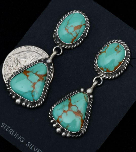Navajo two-piece turquoise earrings by Elouise Kee. #1742