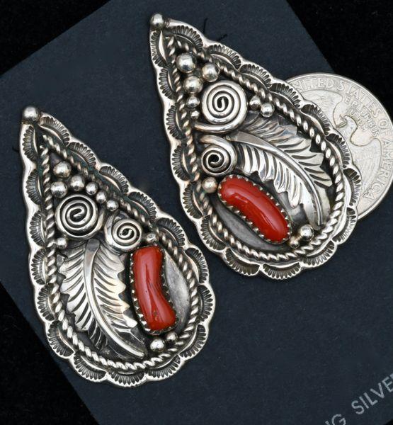 Julia Etsitty Mediterranean red coral Navajo pawn earrings. SOLD! #1745